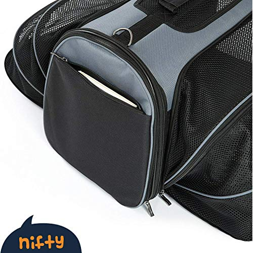 Smiling-Paws-Pets-4-Way-Expandable-Soft-Sided-Airline-Approved-Pet-Carrier-for-Cats-and-Dogs-BlackGrey-Folding-for-Easy-Transport-for-Air-or-Car-Travel-Meets-Most-Under-Seat-Requirements-0-0