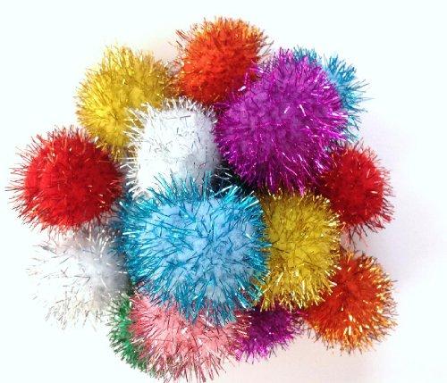 Sparkle-Ball-Cat-Toys-20-Pack-33mm-15-Glitter-Pom-Poms-0