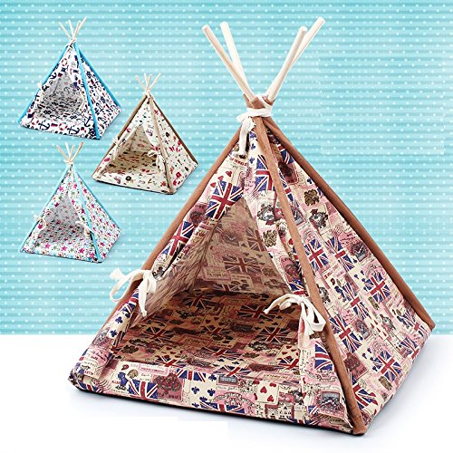 Stock-Show-1Pc-Removable-Washable-Wood-Frame-Canvas-Tent-Teepee-Pet-Mat-Bed-House-Hut-Portable-Pet-Supplies-for-DogPuppyCatKittyKitten-0