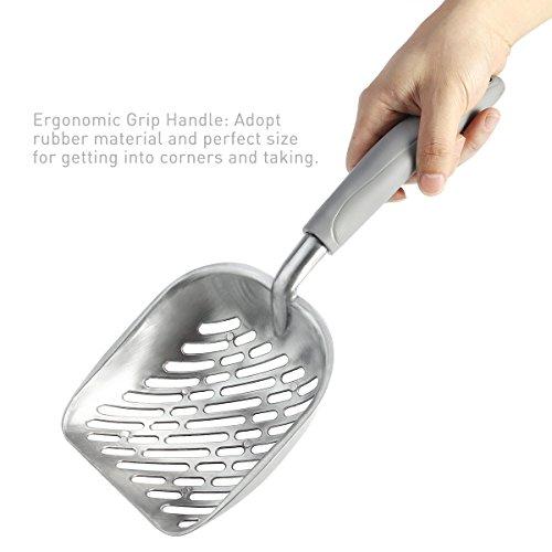UEETEK-Dog-Cat-Litter-ScoopSifter-with-Deep-ShovelDurable-Aluminum-Metal-Cat-Shovel-with-comfortable-Rubber-Long-Handle-for-Pet-Cat-Kitten-35-x-15CM-0-2