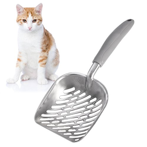 UEETEK-Dog-Cat-Litter-ScoopSifter-with-Deep-ShovelDurable-Aluminum-Metal-Cat-Shovel-with-comfortable-Rubber-Long-Handle-for-Pet-Cat-Kitten-35-x-15CM-0