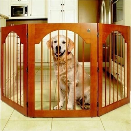 Universal-Free-Standing-Pet-Gate-Wood-insert-Cherry-Stain-0