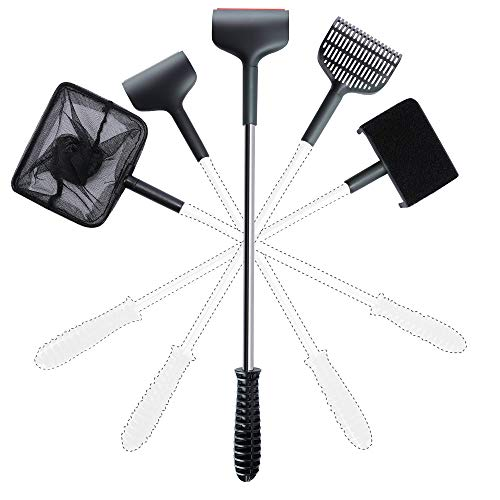 VS-Foru-5-in-1-Aquarium-Cleaning-Tools-Fish-Tank-Cleaner-Sets-with-Soft-and-Hard-Algae-ScraperBrushGravel-RakeFishing-Net-304-Stainless-Steel-Alloy-Rod-Fish-Reef-Plant-Tools-0