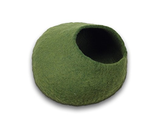 Walking-Palm-Felted-Wool-Cat-Cave-Bed-Green-0-0