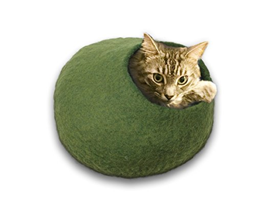 Walking-Palm-Felted-Wool-Cat-Cave-Bed-Green-0
