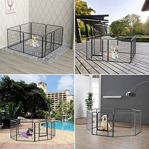 Yaheetech-32-inch-8-Panel-Metal-Dog-Pen-Playpen-Foldable-Play-Yard-Dog-Puppy-Cat-Exercise-Barrier-Fence-Pet-Pen-wDoor-Outdoor-IndoorBlack-0-0