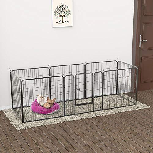 Yaheetech-32-inch-8-Panel-Metal-Dog-Pen-Playpen-Foldable-Play-Yard-Dog-Puppy-Cat-Exercise-Barrier-Fence-Pet-Pen-wDoor-Outdoor-IndoorBlack-0-1
