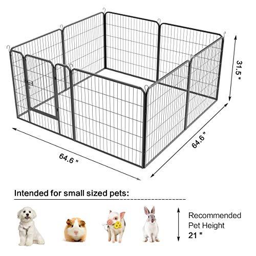 Yaheetech-32-inch-8-Panel-Metal-Dog-Pen-Playpen-Foldable-Play-Yard-Dog-Puppy-Cat-Exercise-Barrier-Fence-Pet-Pen-wDoor-Outdoor-IndoorBlack-0-2