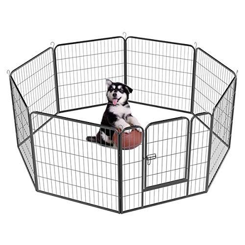 Yaheetech-32-inch-8-Panel-Metal-Dog-Pen-Playpen-Foldable-Play-Yard-Dog-Puppy-Cat-Exercise-Barrier-Fence-Pet-Pen-wDoor-Outdoor-IndoorBlack-0