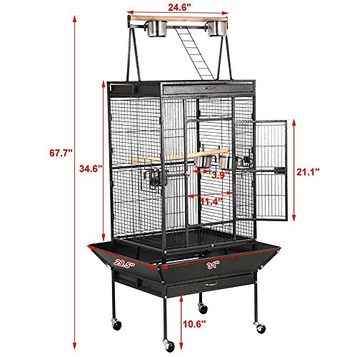 Yaheetech-Pet-Supply-Large-Bird-Cage-Play-Top-Parrot-Finch-Cage-Cockatoo-Cage-29-12-inch-by-31-inch-by-68-inch-0-1
