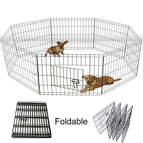Yoshioe-24-Tall-Metal-Pet-Playpen-Folding-Exercise-Wire-Fence-8-Panel-Yard-Hammigrid-Outdoor-0