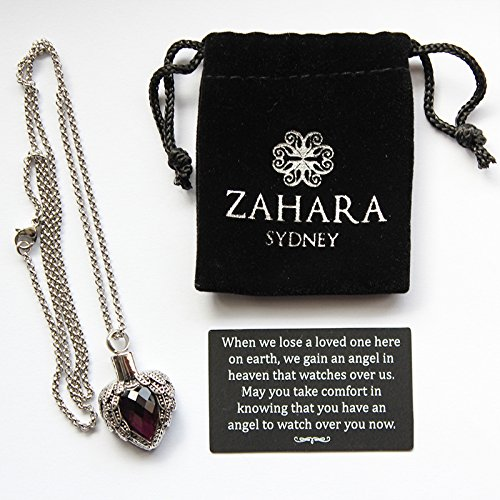 Zahara-Memorial-Urn-Necklace-20-Inches-with-Velvet-Pouch-Fill-Kit-Amethyst-Angel-Heart-Pendant-and-Chain-Nickel-Free-0-2