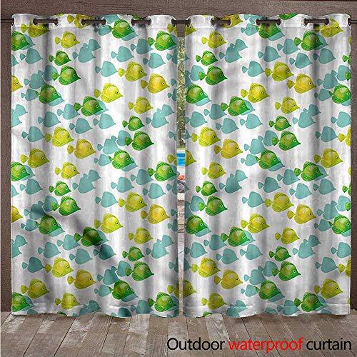 cobeDecor-Aquarium-Outdoor-Balcony-Privacy-Curtain-Small-Pet-Fishes-Pattern-0