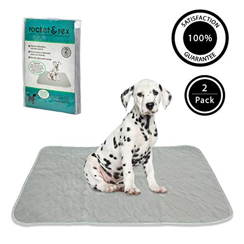 rocket-rex-Washable-Reusable-Pet-Training-and-Puppy-Pads-Waterproof-Leak-Proof-and-Absorbent-Whelping-Incontinence-Travel-Bed-Wetting-Mattress-Protector-0