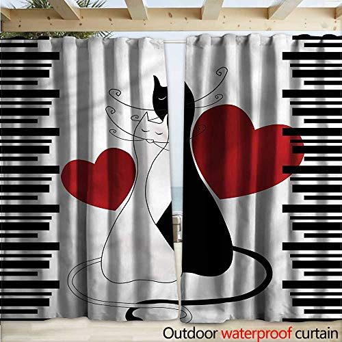 warmfamily-Cats-Waterproof-Sliding-Door-Curtains-Romantic-Couple-Pet-Kitten-W120-x-L84-0