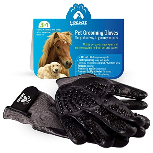4pawzz-Premium-Quality-Pet-Grooming-Gloves-Deshedding-Brush-for-DogsCatsHorses-One-Pair-Removes-Fur-Massages-and-Cleans-Ideal-for-Any-Pet-ShortMediumLong-Fur-Grey-0