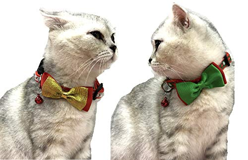 Alemon-2-Pack-Christmas-Santa-Snowman-Holiday-Xmas-Collar-for-Cats-Kitten-with-Bowtie-Adjustable-8-14-0-1