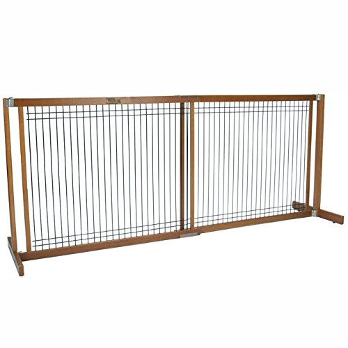 Amish-Handcrafted-30-Tall-Kensington-Free-Standing-Wood-Wire-Pet-Gate-0