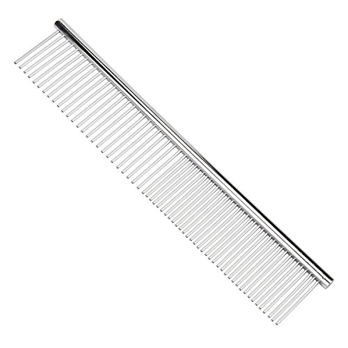 BPS-Pet-Grooming-Combs-7-12-Inch-Dog-Combs-Puppy-Metal-Combs-Peine-de-Perro-Stainless-Steel-Comb-for-ColliePoodleHavaneseYorkieMaine-Gift-with-Bottle-Opener-Keychain-or-Golden-Bell-0-0