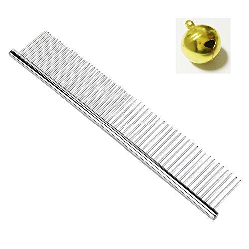BPS-Pet-Grooming-Combs-7-12-Inch-Dog-Combs-Puppy-Metal-Combs-Peine-de-Perro-Stainless-Steel-Comb-for-ColliePoodleHavaneseYorkieMaine-Gift-with-Bottle-Opener-Keychain-or-Golden-Bell-0