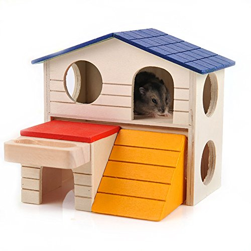 BWOGUE-Pet-Small-Animal-Hideout-Hamster-House-Deluxe-Two-Layers-Wooden-Hut-Play-Toys-Chews-0-2