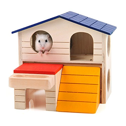 BWOGUE-Pet-Small-Animal-Hideout-Hamster-House-Deluxe-Two-Layers-Wooden-Hut-Play-Toys-Chews-0
