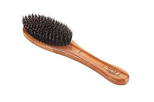 Bass-Brushes-Shine-Condition-Pet-Brush-Natural-Bristle-Pure-Bamboo-Handle-Full-Oval-Dark-Finish-Model-A14-DB-0