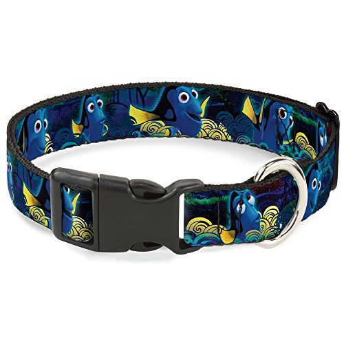 Buckle-Down-Dory-PosesSwirls-BluesYellows-Disney-Breakaway-Plastic-Clip-Collar-Narrow-Large-0