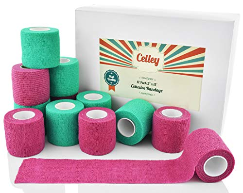 Celley-12-Pack-Cohesive-Bandage-Wrap-for-Dogs-Cats-Sports-Medical-First-Aid-2-Inch-x-15-Feet-Rolls-0