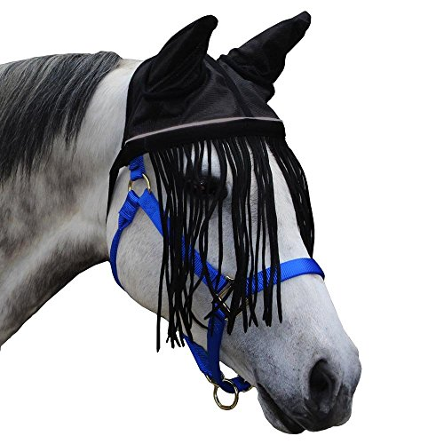 Derby-Soft-Nylon-Mesh-Fly-Bonnet-Veil-for-Horses-with-Ears-Fringes-and-Reflective-Trim-Multiple-Colors-All-Sizes-0-0