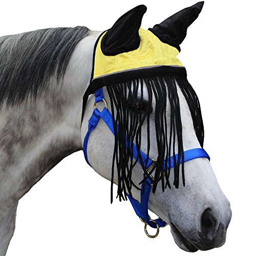 Derby-Soft-Nylon-Mesh-Fly-Bonnet-Veil-for-Horses-with-Ears-Fringes-and-Reflective-Trim-Multiple-Colors-All-Sizes-0-1