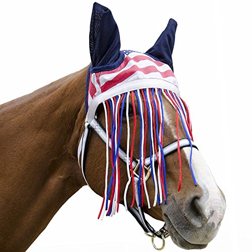 Derby-Soft-Nylon-Mesh-Fly-Bonnet-Veil-for-Horses-with-Ears-Fringes-and-Reflective-Trim-Multiple-Colors-All-Sizes-0