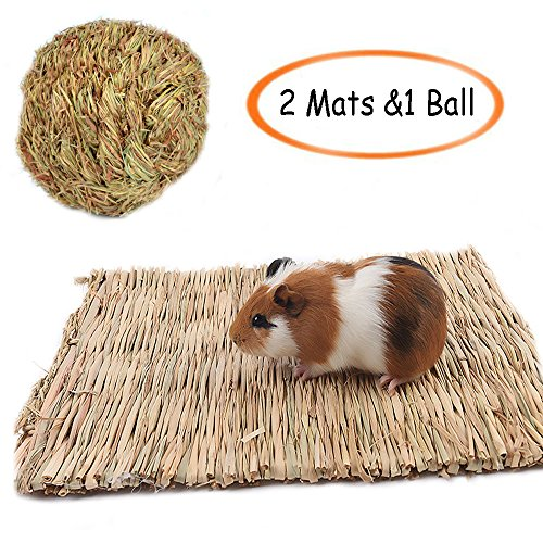 Grass-MatWoven-Bed-Mat-for-Small-AnimalBunny-Bedding-Nest-Chew-Toy-Bed-Play-Toy-for-Guinea-Pig-Parrot-Rabbit-Bunny-Hamster-Pack-of-3-0