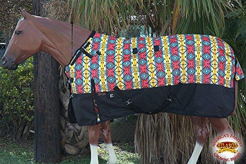 HILASON-66-1200D-Poly-Waterproof-Turnout-Winter-Horse-Blanket-Aztec-Black-0-0