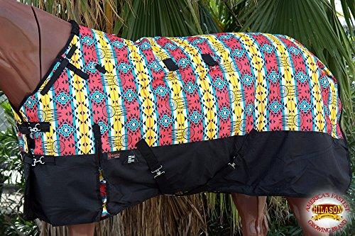 HILASON-66-1200D-Poly-Waterproof-Turnout-Winter-Horse-Blanket-Aztec-Black-0-1
