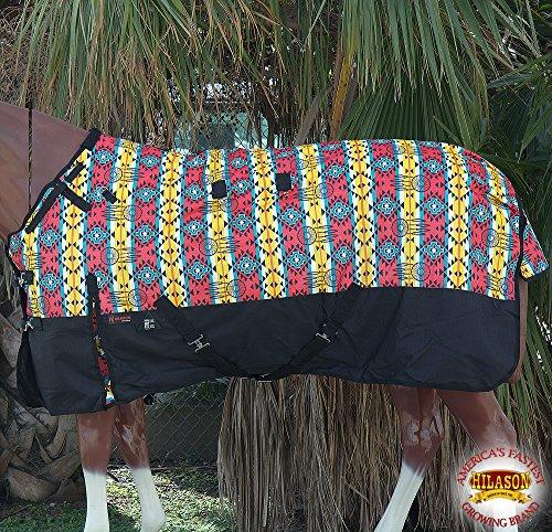 HILASON-66-1200D-Poly-Waterproof-Turnout-Winter-Horse-Blanket-Aztec-Black-0
