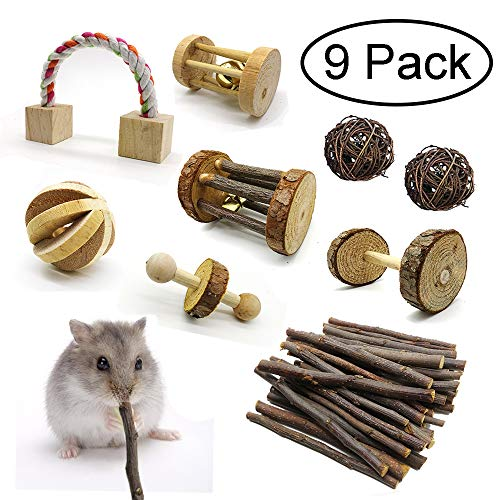 HOPET-Hamster-Chew-Toys-9pcs-Wooden-Teeth-Care-Molar-Chewing-Grind-Toys-Exercise-Bells-Balls-Roller-for-Guinea-Pig-Bunny-Rabbits-Ferret-Small-Animals-Pets-0