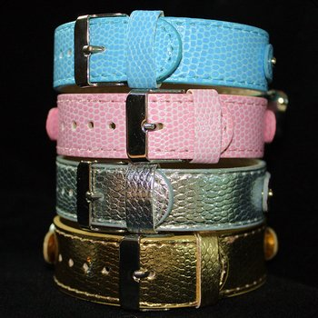 Hows-Your-Dog-Snakeskin-Pattern-Double-strap-Swarovski-Crystal-Personalized-Collar-for-Dog-and-Cat-Candy-PinkS-10-14-0-2