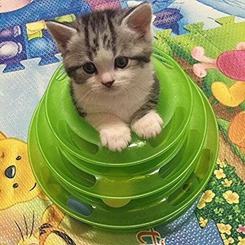 JUMUU-Cat-Kitty-Interactive-Three-Levers-Pet-Toy-Amusement-Plate-Crazy-Ball-Disk-Cat-Scratching-Ball-Toy-0-1