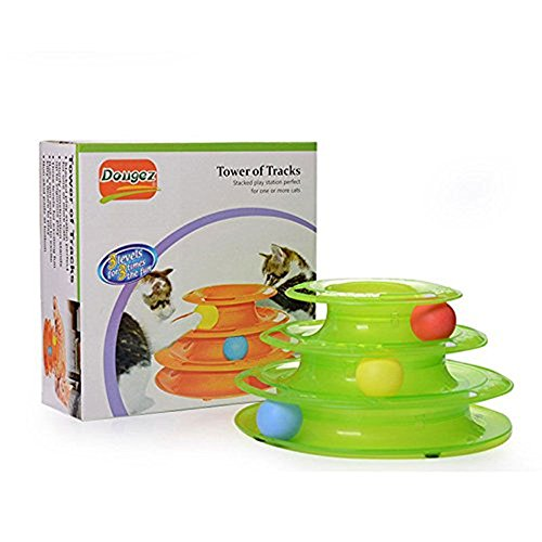 JUMUU-Cat-Kitty-Interactive-Three-Levers-Pet-Toy-Amusement-Plate-Crazy-Ball-Disk-Cat-Scratching-Ball-Toy-0-2