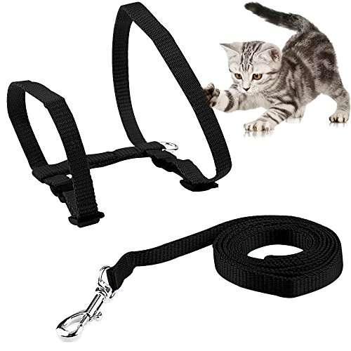 KAOSITONG-Cat-Harness-Adjustable-Harness-Nylon-Strap-Collar-with-Leash-Cat-Leash-and-Harness-Set-for-Cat-and-Small-Pet-Walking-0-0
