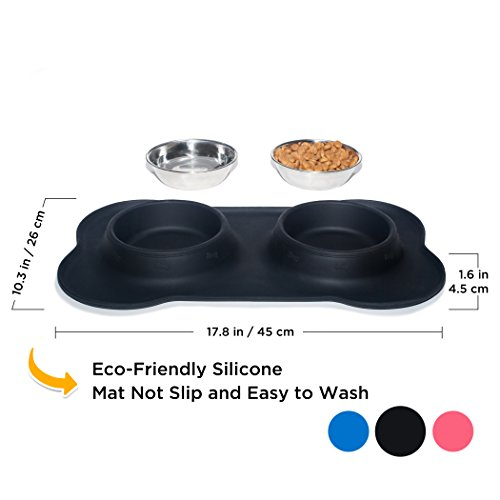 KEKS-Small-Dog-Bowls-Set-of-2-Stainless-Steel-Bowls-with-Non-Skid-No-Spill-Silicone-Stand-for-Small-Dogs-Cats-Puppy-Collapsible-Travel-Pet-Bowl-0-1