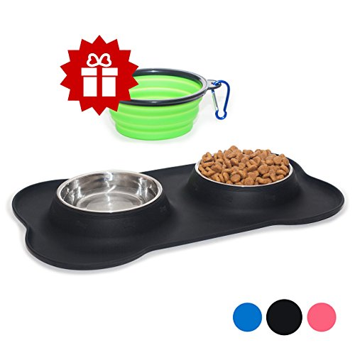 KEKS-Small-Dog-Bowls-Set-of-2-Stainless-Steel-Bowls-with-Non-Skid-No-Spill-Silicone-Stand-for-Small-Dogs-Cats-Puppy-Collapsible-Travel-Pet-Bowl-0