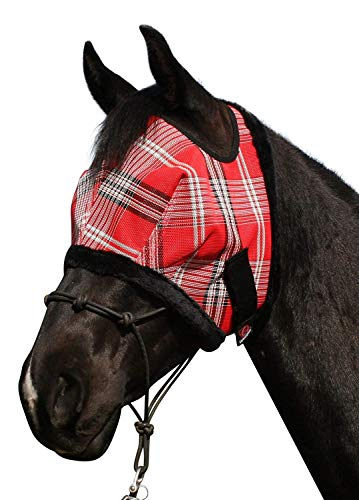 Kensington-Fly-Mask-Fleece-Trim-for-Horses-Protects-Face-Eyes-from-Flies-UV-Rays-While-Allowing-Full-Visibility-Breathable-Non-Heat-Transferring-Perfect-Year-Round-XX-Large-Deluxe-Red-Plaid-0