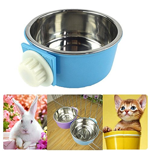 LESYPET-Stainless-Steel-Dog-Bowl-Hanging-Food-Water-Pets-Bowl-for-Dog-Cat-Bird-with-Bolt-Holder-0-0