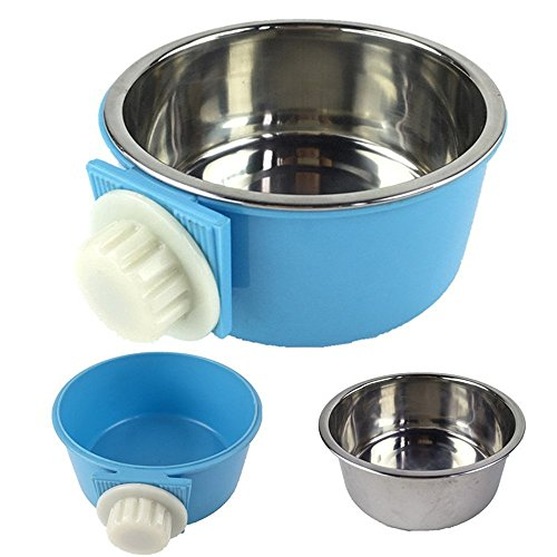 LESYPET-Stainless-Steel-Dog-Bowl-Hanging-Food-Water-Pets-Bowl-for-Dog-Cat-Bird-with-Bolt-Holder-0-1