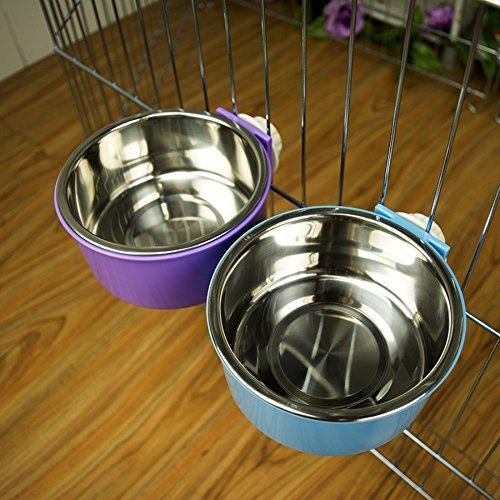 LESYPET-Stainless-Steel-Dog-Bowl-Hanging-Food-Water-Pets-Bowl-for-Dog-Cat-Bird-with-Bolt-Holder-0
