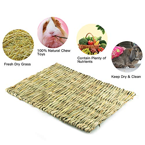 Lmlly-Rabbit-Grass-Mat-Natural-Hay-Woven-Chew-Toy-Resting-Pad-for-Gerbils-Bunny-Hamster-Chinchillas-Guinea-Pigs-Ferret-Small-Animals-0-2