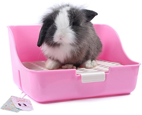 Mkono-Rabbit-Cage-Litter-Box-Potty-Trainer-for-Adult-Guinea-Pig-Ferret-Small-Animals-11-Inches-Random-Color-0