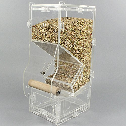 Mrli-Pet-No-Mess-Bird-Feeder-Parrot-Integrated-Automatic-Feeder-with-Perch-Cage-Accessories-for-Budgerigar-Canary-Cockatiel-Finch-Parakeet-Seed-Food-Container-0